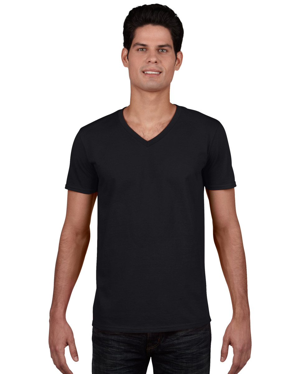 Gildan Men/'s Soft Style V-Neck T-Shirt