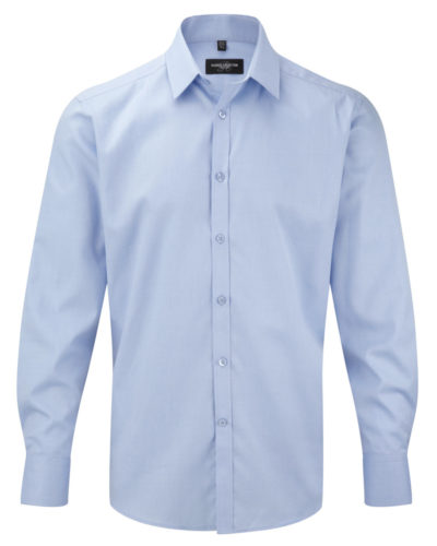 Russell Collection Mens Herringbone Long Sleeve Shirt