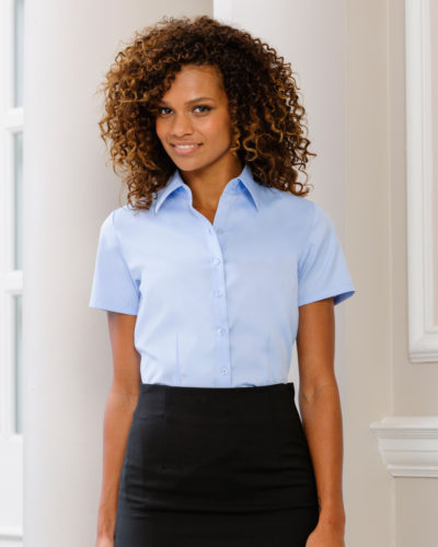 Russell Collection Ladies Herringbone Short Sleeve Shirt