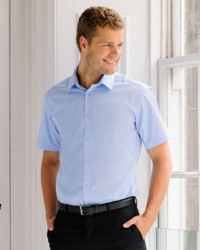 Russell Collection Mens Herringbone Short Sleeve Shirt